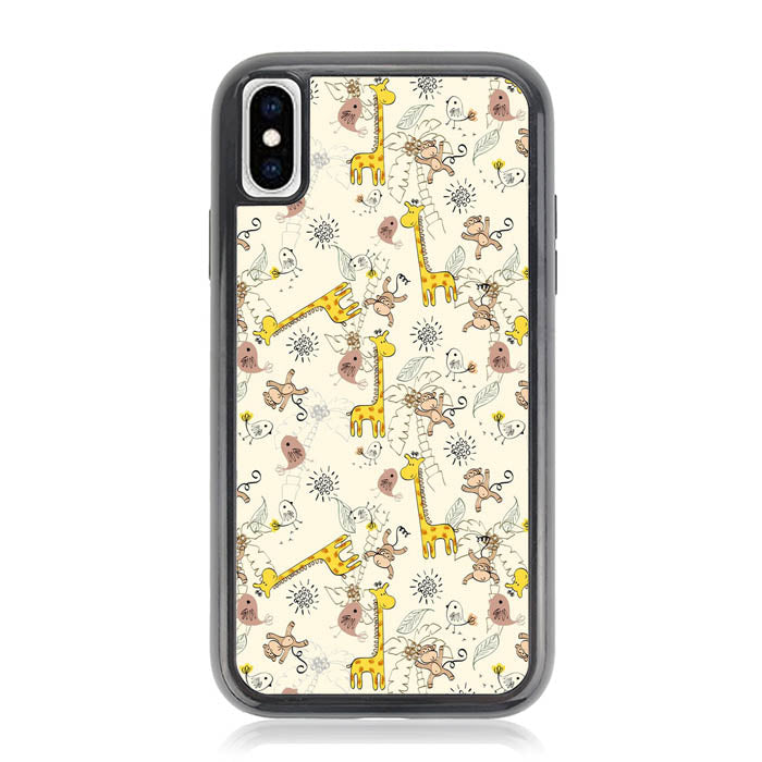Giraffe And Monkey Background L0149a iPhone XS Max Case