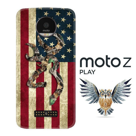Browning Deer Real Tree Camo USA Flag L1395 Motorola Moto Z Play Cover Cases