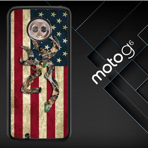 Browning Deer Real Tree Camo Usa Flag L1395 Motorola Moto G6 ( Moto G 6th Generation )  Cover Cases