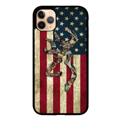 Browning Deer Real Tree Camo USA Flag L1395 iPhone 11 Pro Max Case