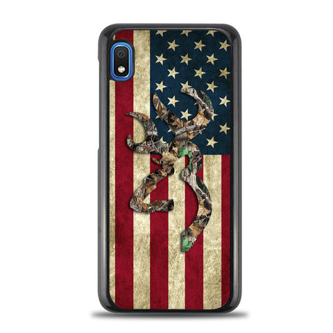 Browning Deer Real Tree Camo USA Flag L1395 Samsung Galaxy A10E Case