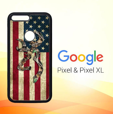 Browning Deer Real Tree Camo USA Flag L1395 Google Pixel XL Cover Cases
