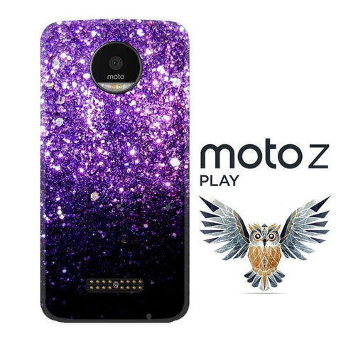Purple Sparkling Glitter L1476 Motorola Moto Z Play Cover Cases