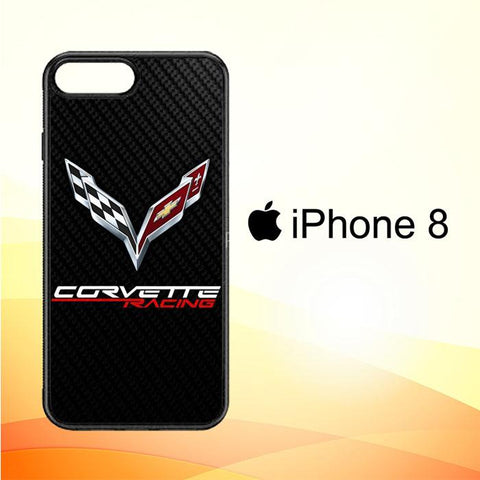 Corvette Logo Carbon W5023 iPhone 8 Cover Cases