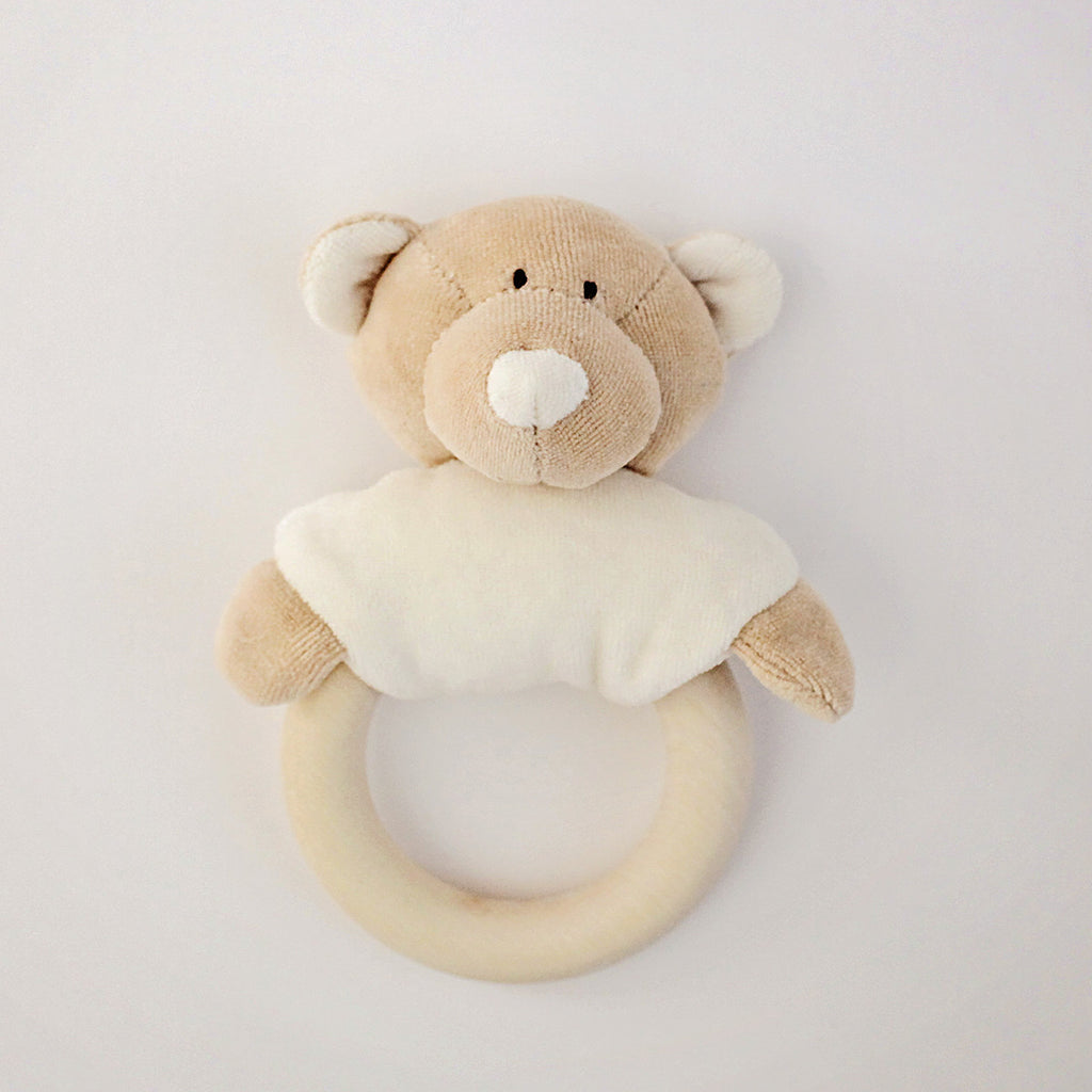 Wooly Organic Soft Teddy Rattle with Wooden Teether