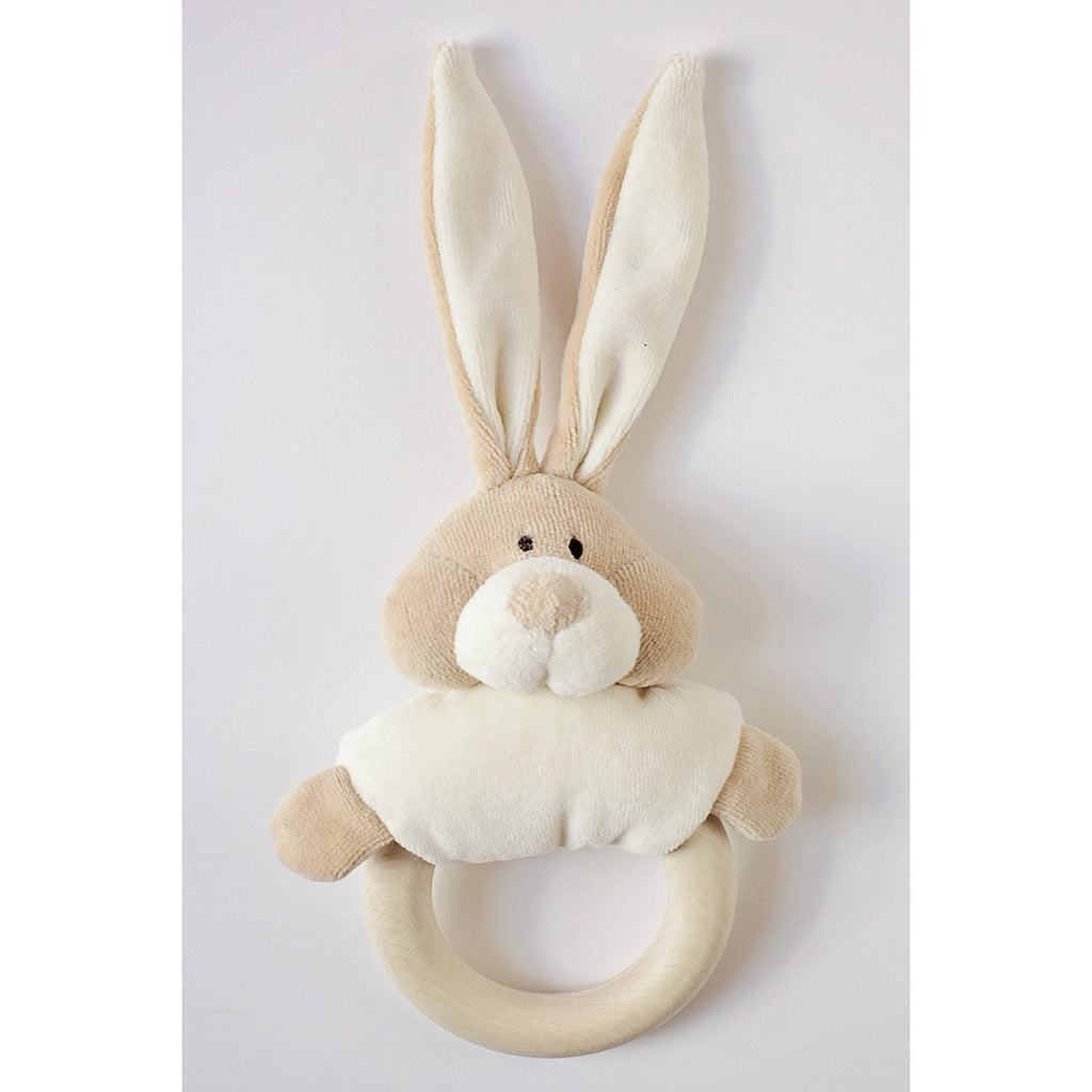 Wooly Organic Soft Bunny Rattle with Wooden Teether