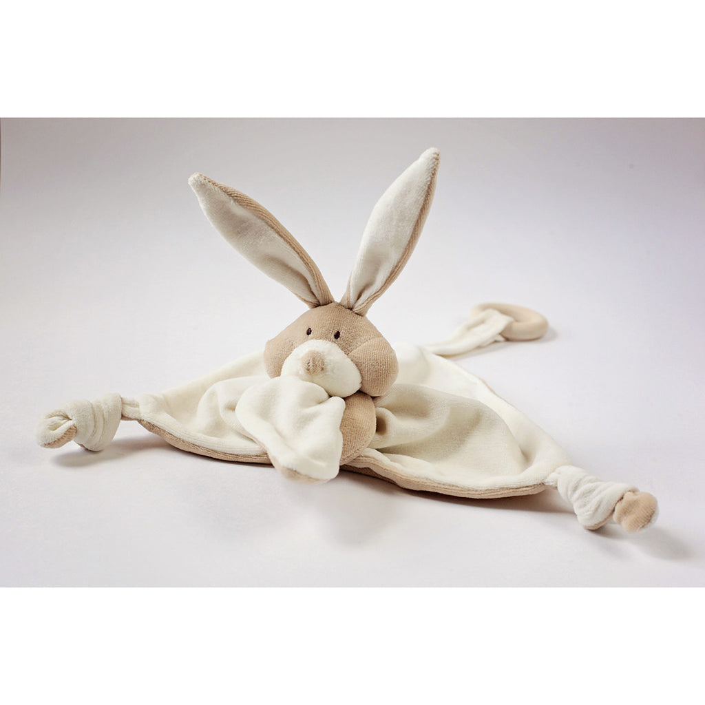 Wooly Organic Bunny Comforter with Wooden Teether