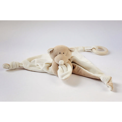 Wooly Organic Teddy Comforter with Wooden Teether