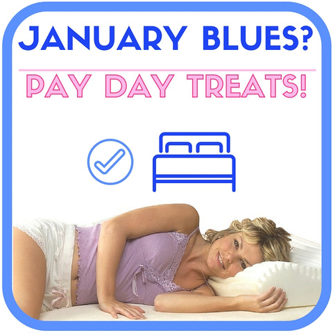 January blues pay day treats mattress pillow