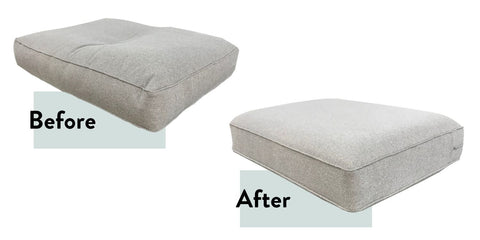 sofa cushion refilling before and after
