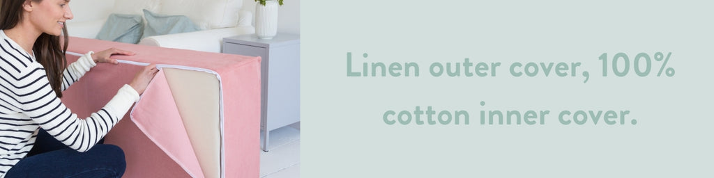 linen footstool cover fold out mattress coral blue greige