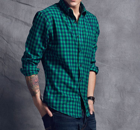 Men casual long sleeve shirt  Alan green - ASTREZO