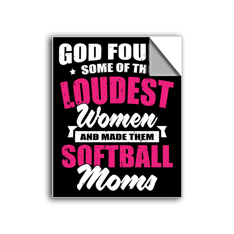 "FREE SHIPPING - ""Loudest Women - Softball Mom"" Vinyl Decal Sticker (5"" tall) - Limited Time Only!"