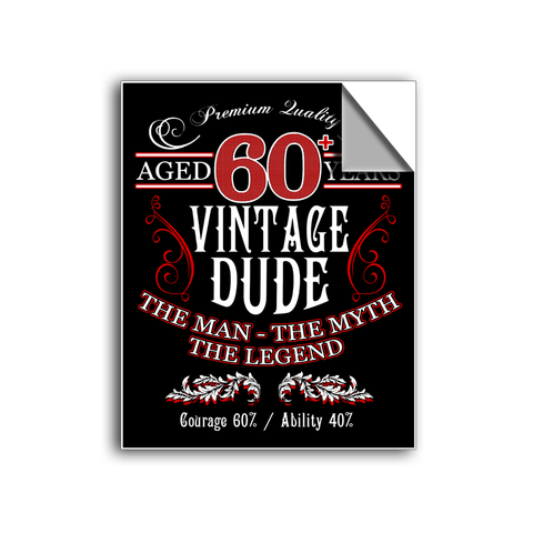 "FREE SHIPPING - ""Vintage Dude"" Vinyl Decal Sticker (5"" tall) - Limited Time Only!"