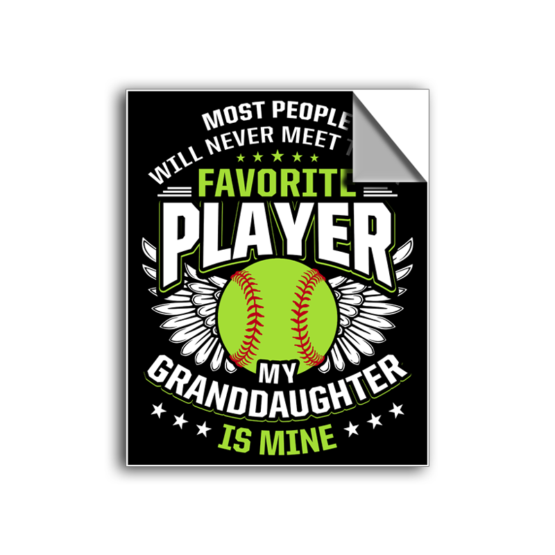 "FREE SHIPPING - ""Favorite Player - Granddaughter"" Vinyl Decal Sticker (5"" tall) - Limited Time Only!"