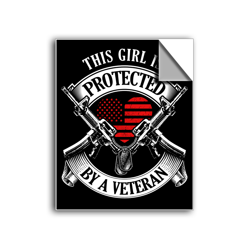 "FREE SHIPPING - ""Protected By A Veteran"" Vinyl Decal Sticker (5"" tall) - Limited Time Only!"