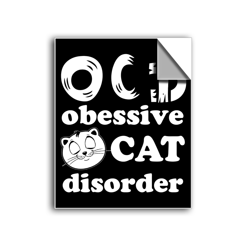 "FREE SHIPPING - ""O.C.D. - Cat"" Vinyl Decal Sticker (5"" tall) - Limited Time Only!"