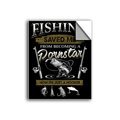 "FREE SHIPPING - ""Fishing Saved Me"" Vinyl Decal Sticker (6"" tall) - Limited Time Only!"