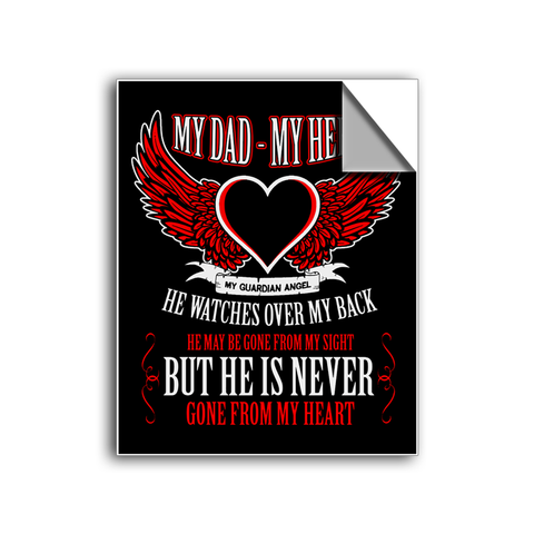 "FREE SHIPPING - ""Never Gone From My Heart - Dad"" Vinyl Decal Sticker (5"" tall) - Limited Time Only!"