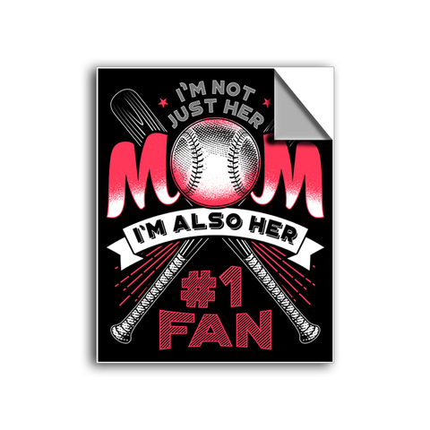 "FREE SHIPPING - ""Her Number 1 Fan - Mom"" Vinyl Decal Sticker (5"" tall) - Limited Time Only!"