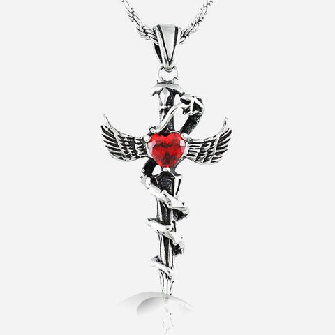 Red Stainless Steel Caduceus Symbol Pendant Necklace