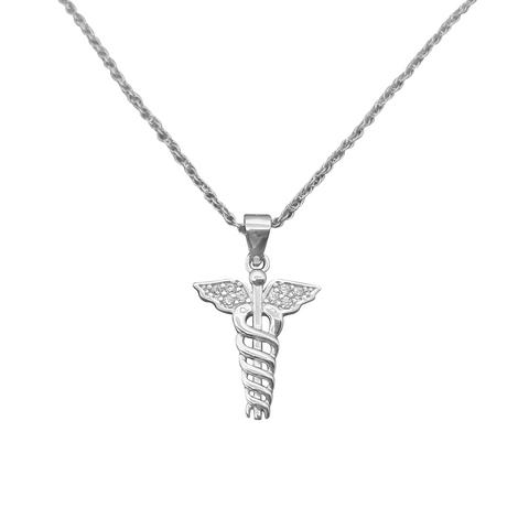 925 Sterling Silver Caduceus Pendant Necklace