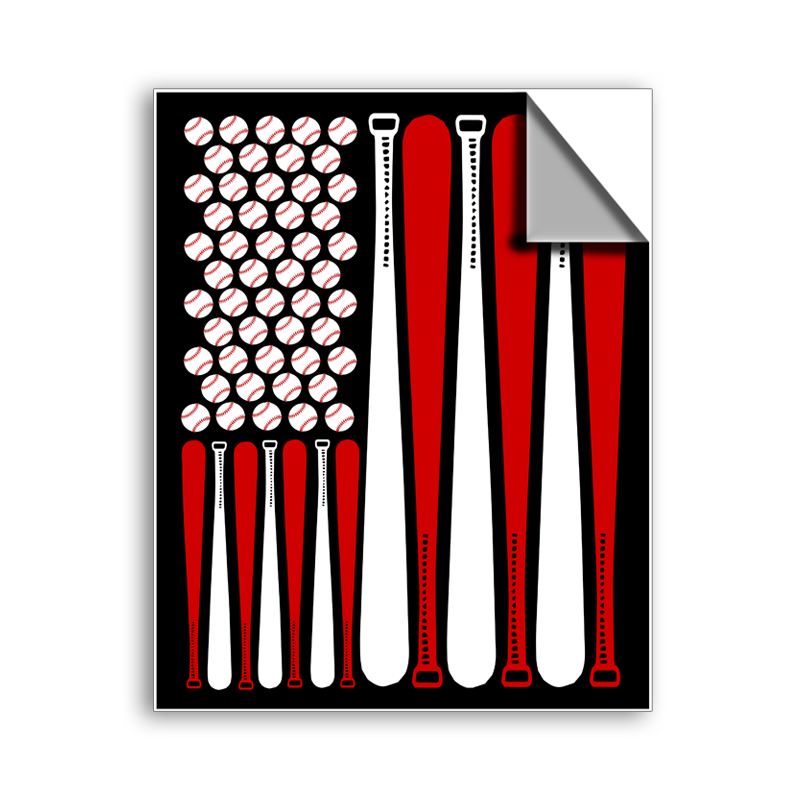 "FREE SHIPPING - ""Baseball American Flag..."" Vinyl Decal Sticker (5"" tall) - Limited Time Only!"