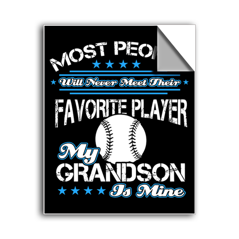 "FREE SHIPPING - ""Favorite Player - Grandson"" Vinyl Decal Sticker (5"" tall) - Limited Time Only!"