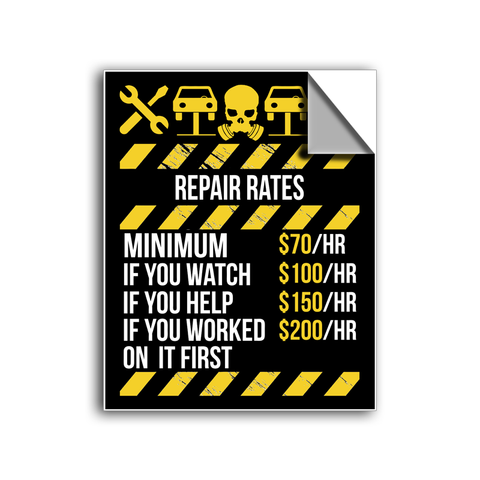 "FREE SHIPPING - ""Mechanic Repair Rates"" Vinyl Decal Sticker (5"" tall) - Limited Time Only!"