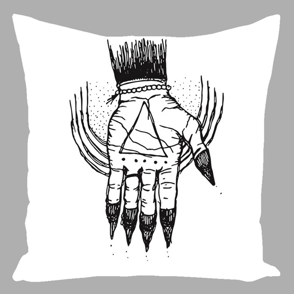 "Hand of the Occult - Faux Linen Pillow (White) 16"" x 16"" - Keven Craft Rituals"
