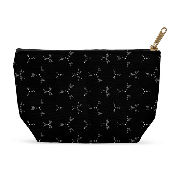 Black Geometric Pouches for Cosmetics or Travel - Keven Craft Rituals