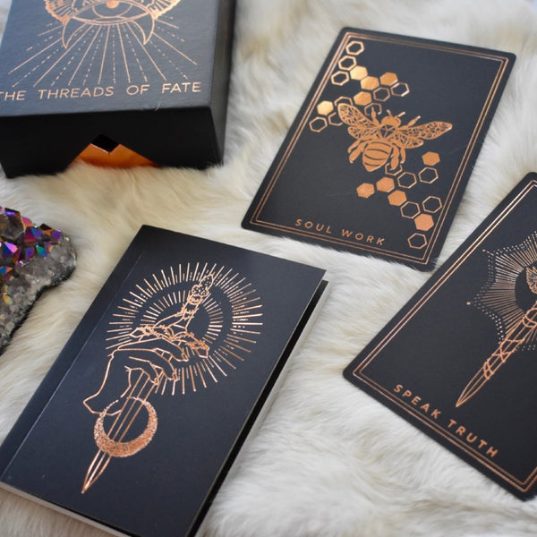 Threads of Fate Oracle Deck - Black and Rose Gold Edition