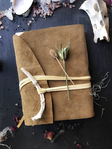 Grimoire - Hand-bound Suede Leather Journal With Deerbone Clasp