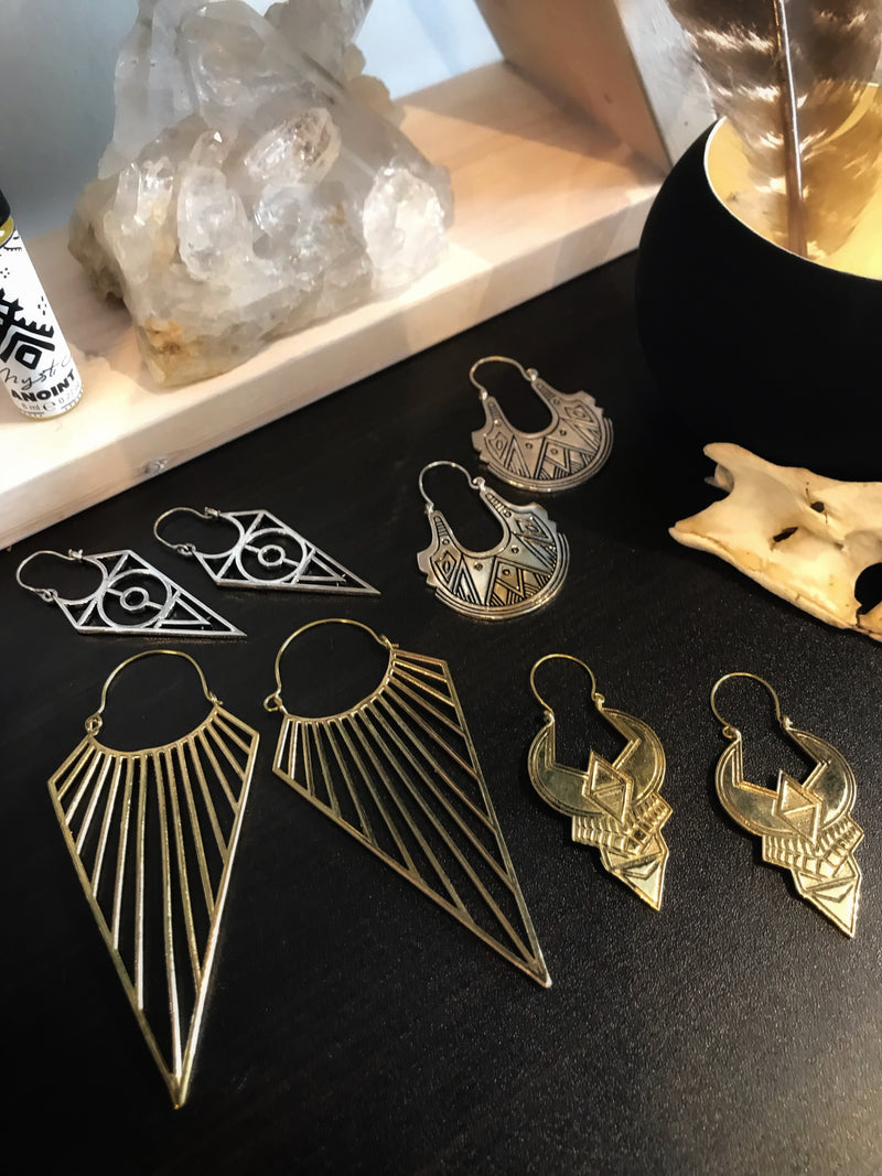 Geometric and Esoteric Brass Earrings