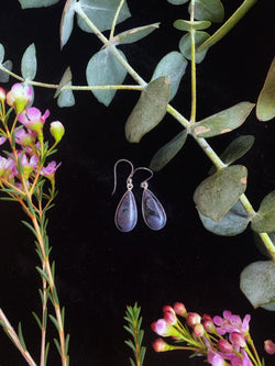 Merlinite Hook Earrings on Sterling Silver