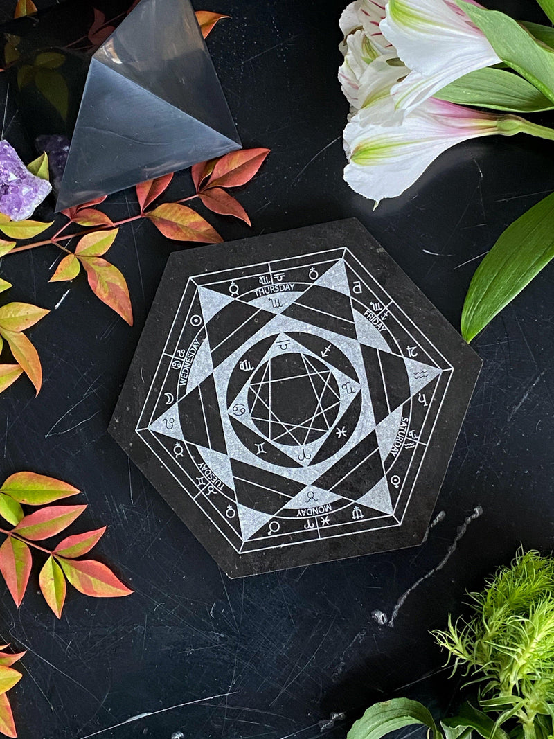 Black Marble Relic Tile for Altars, Crystal Grids, & Divination - Collectible Series - Keven Craft Rituals