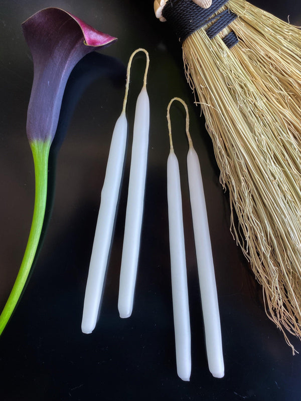 "Witches Wands - Hand Dipped, Taper Beeswax Spell (6"" Chime) Candles"