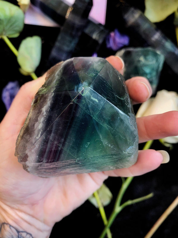 Fluorite Crystal Rough Chunk w/ Polished Point - L