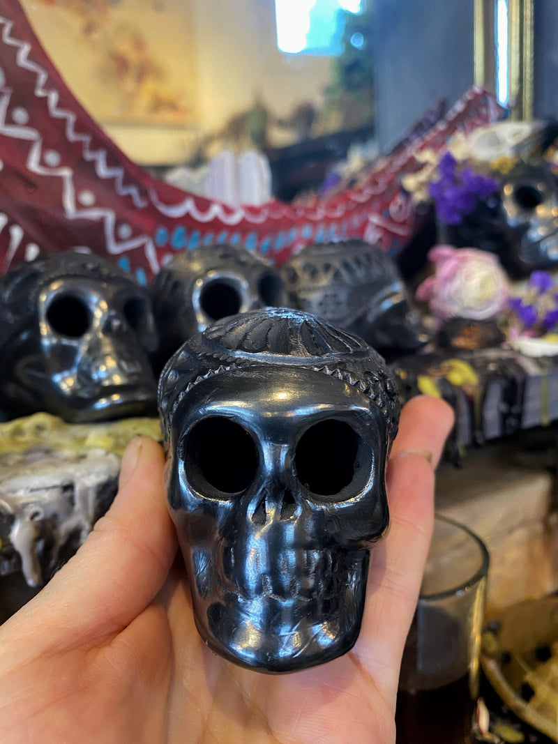 Day of the Dead, Oaxaca Black Clay Skull - Keven Craft Rituals