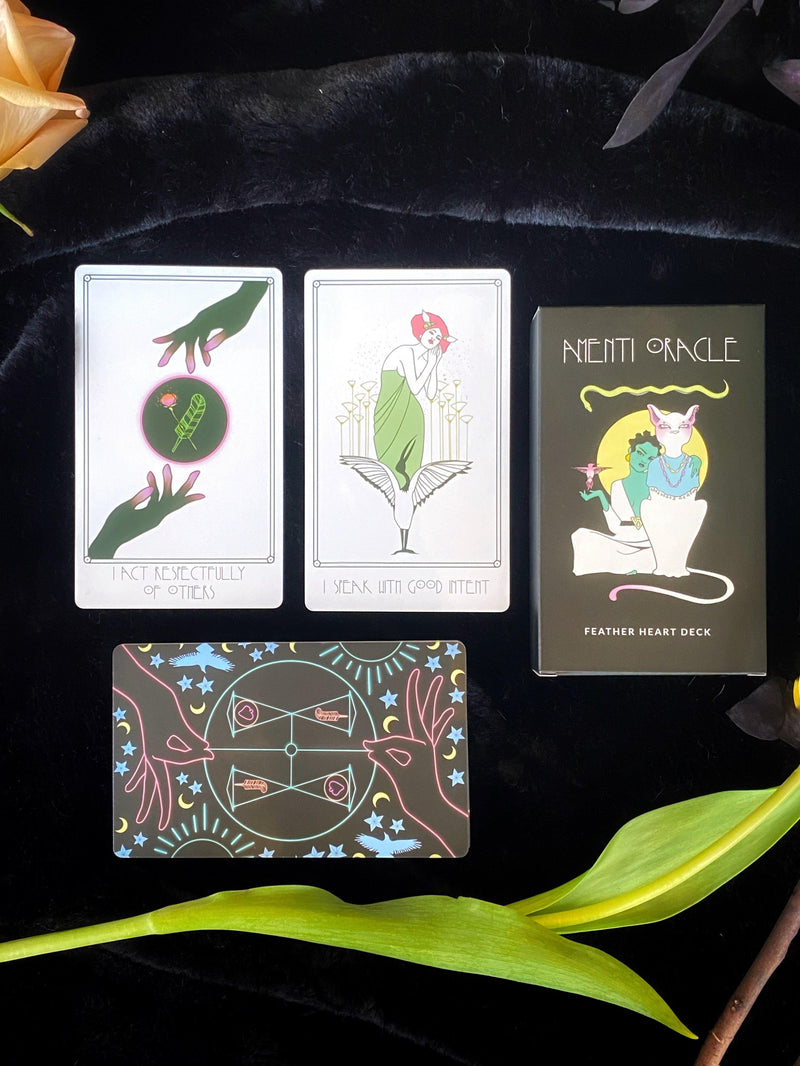 Amenti Oracle Feather Heart Deck and Guide Book: Ancient Wisdom for the Modern World - Keven Craft Rituals