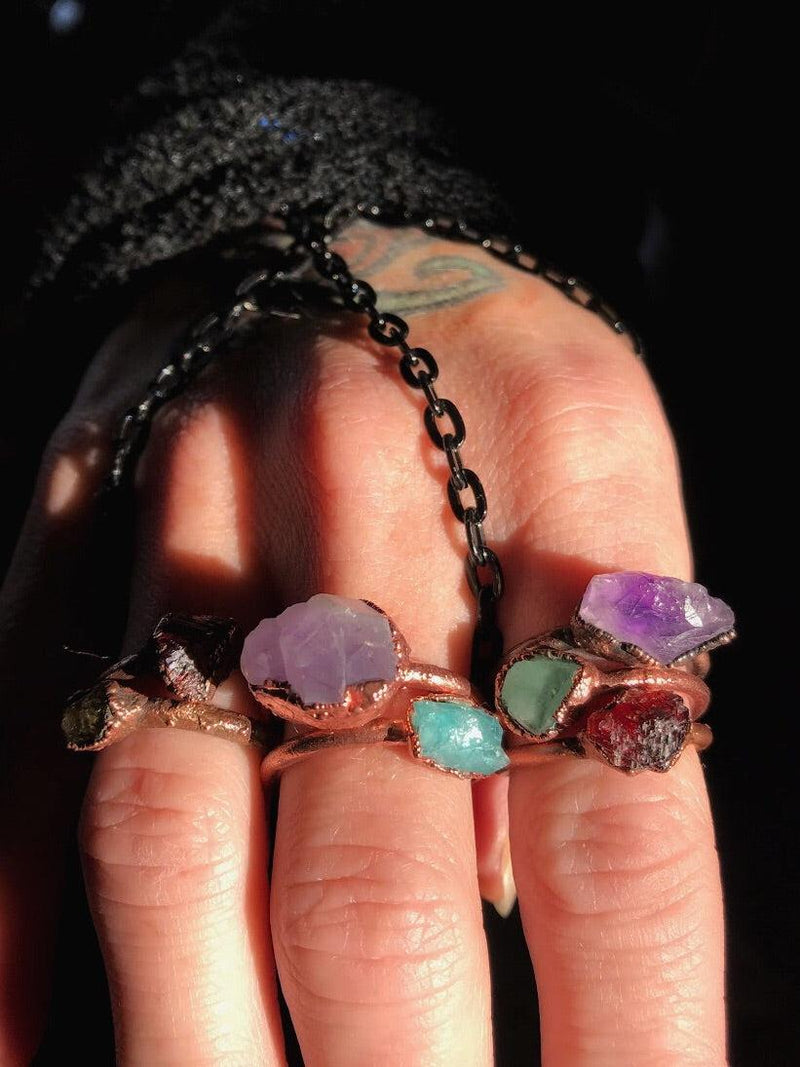 Electroformed Crystal and Copper Rings - Keven Craft Rituals