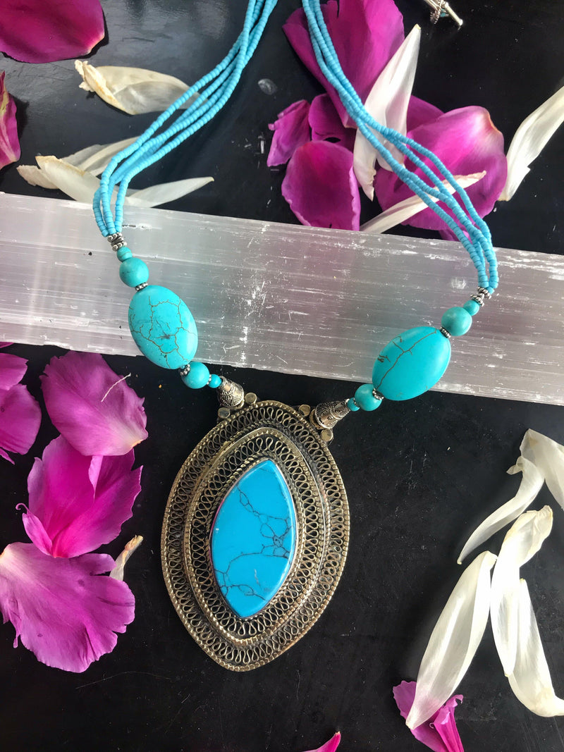 Antique Turquoise Beaded/Inlaid Necklace - Afghan Turkman Jewelry - Keven Craft Rituals