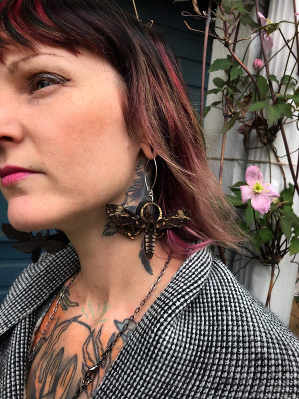 Death Moth, Wooden Earrings