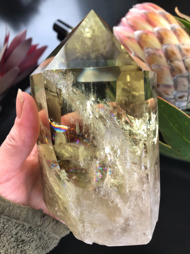 L- XXL Smoky Citrine Rainbow Quartz Point - Keven Craft Rituals