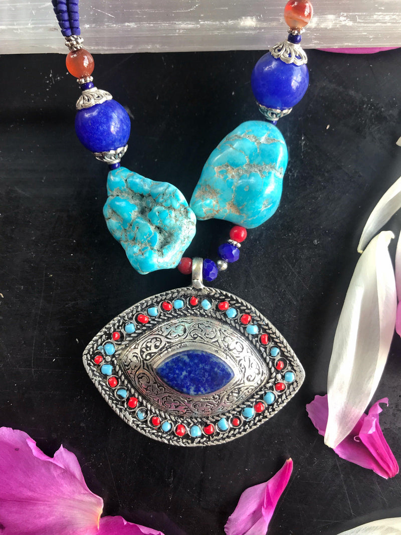 Vintage Lapis Lazuli and Turquoise Evil Eye Necklace - Afghan Turkman Jewelry
