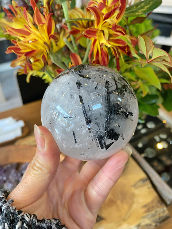 Black Tourmalinated Quartz Crystal Sphere - M- XL Scrying Ball - Keven Craft Rituals