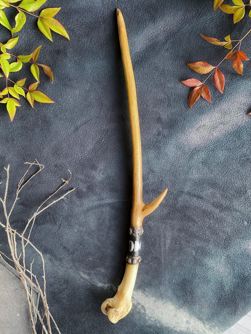 Magic Wand w/ Coyote Bone and Maple - Keven Craft Rituals