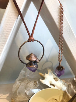 Raw Amethyst Electroformed Necklace - Small