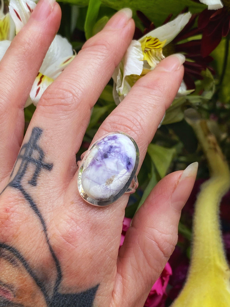 Violet Flame Mexican Opal Ring on Sterling Silver - Size 6-8.5