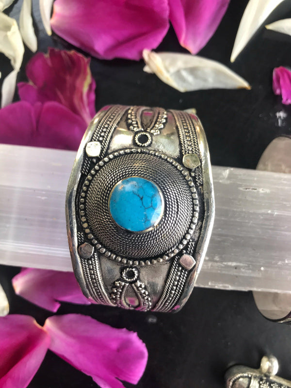 Vintage Turquoise Bracelet Cuff - Afghan Turkman Jewelry - Keven Craft Rituals
